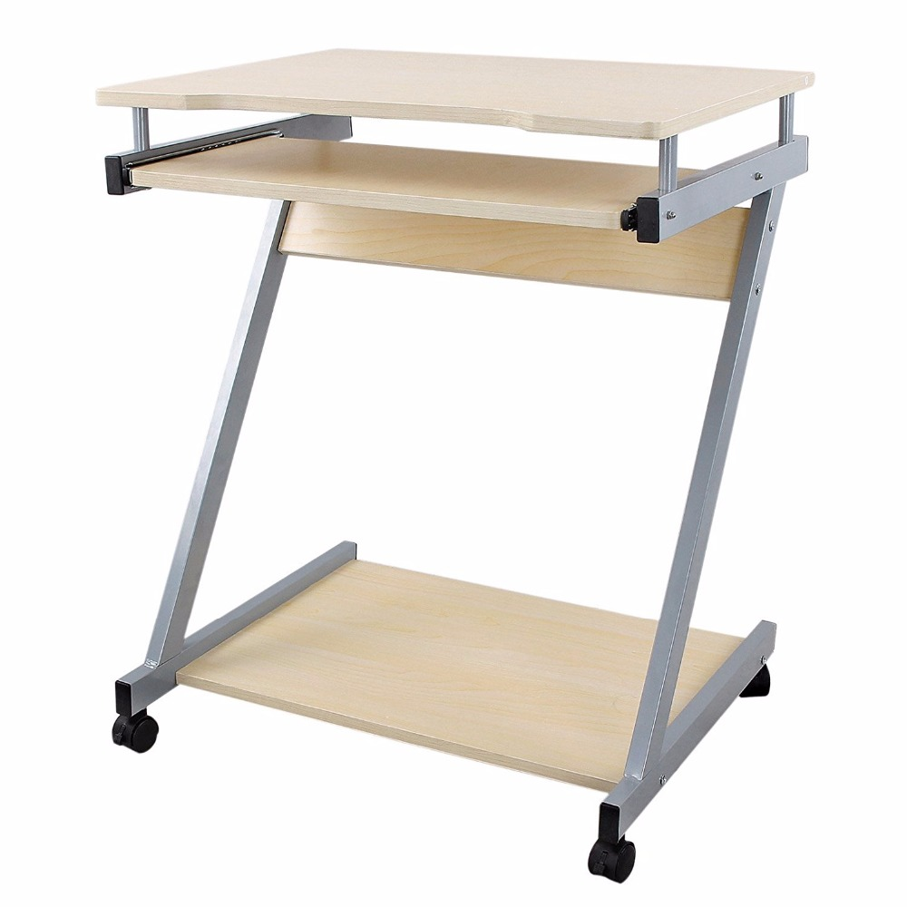 Computer Desk Z-Shaped PC Table Movable Portable Trolley Study Workstation with Sliding Keyboard 4 Wheels 60 x 48 x 73 cm