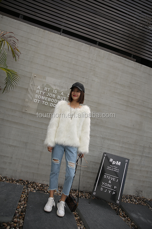 Brand New fake fox fur Knitted Coats Pure Ladies Casual Apparel