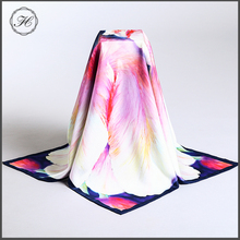 Customized Colors Hand Rolled Hem Digital Print Silk Twill Scarf