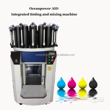 machine tinting of paints, automatic clamping paint shaker for mixing, manual color dispenser