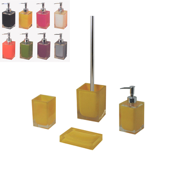 Transparent Resin Yellow Bathroom Accessories Set