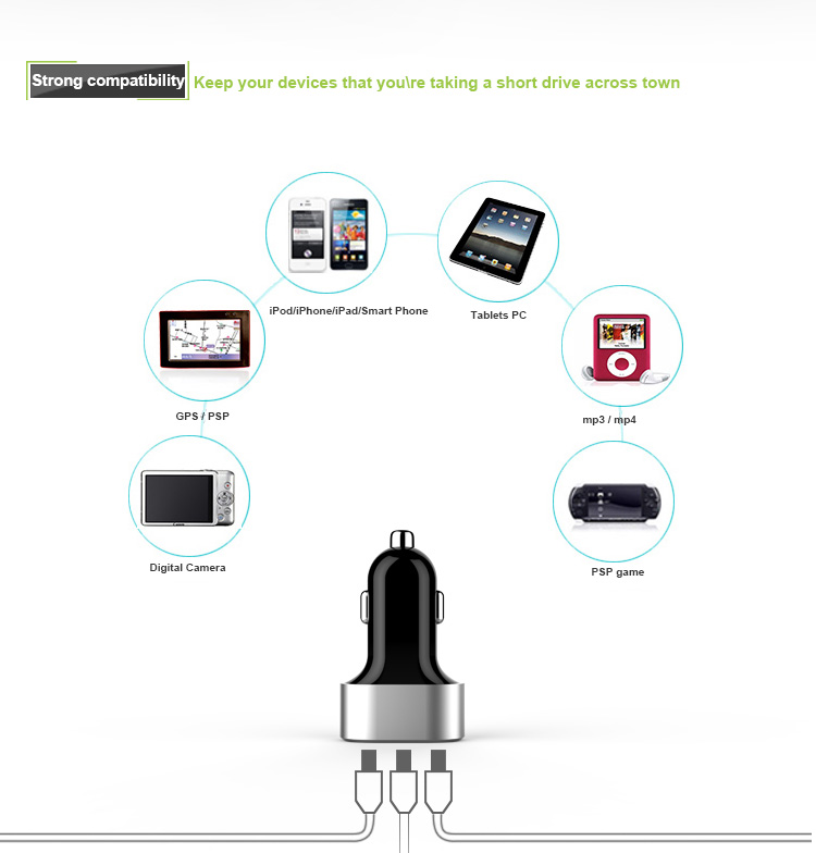 Precious Wireless 3-Port Car USB Charger Made For iPhone/iPad/iPod/Smartphone