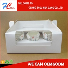 White paper bread packing box with clear window, paper box for cupcake