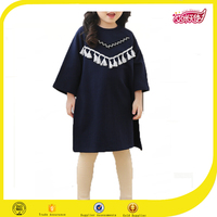 Navy blue and grey new fashion dress girl match mom frock design for baby girl dress design