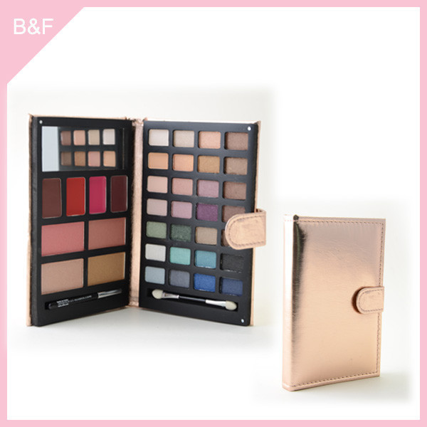 Popular !!! PU leather Face make up booklet colorful eyeshaow color chart