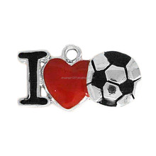 Custom Bracelets Making Accessories Wholesale I Love Soccer Metal Charms