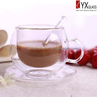 220ml double wall glass coffee cup with glass saucer glass spoon/double wall glass coffee mug/double wall glass coffee cup set