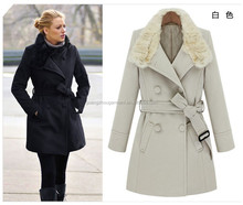 Woman 2014 winter gossip girl fashion hot rabbit fur collar slim fit double breasted jacket coat Long Belted thick warm Coat