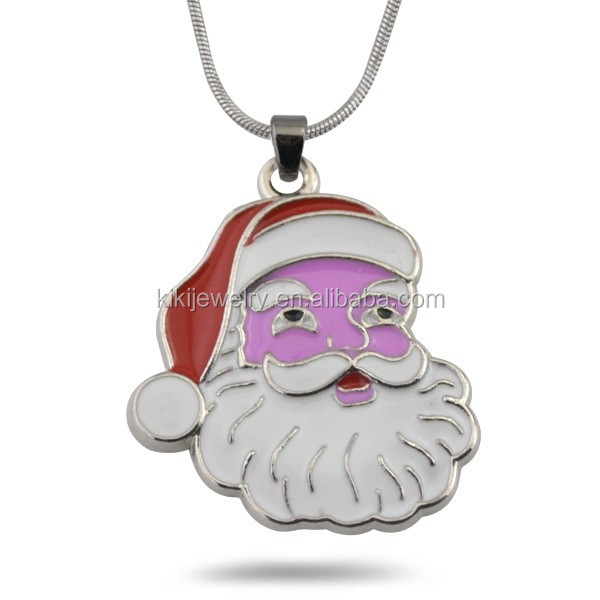 Stylish Enameled Colorful Christmas Santa Claus Statues Pendant Necklace