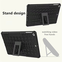 Hand free stand case for ipad air 2 hybrid pc tpu 2 in 1 shockproof tire grain cover for apple ipad air