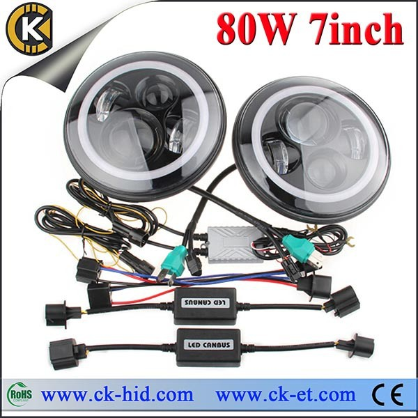 DC 12V 24V round anti flickering halo ring 7inch led headlight for Jeep wrangler