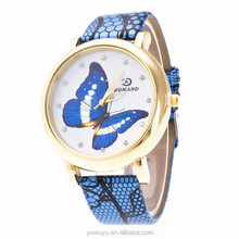 Luxury Big Case Butterfly Leather Quartz Ladies Vintage Watches