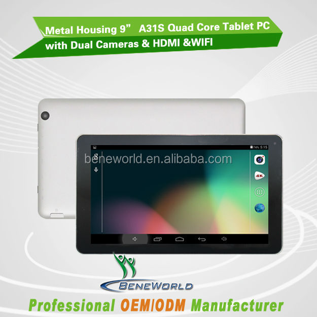 Metal housing for 9inch A31S quad core dual camera tablet pc android driver