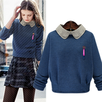 W71552G 2015 fashion doll collar wool handmade sweater design for girl wool sweater for christmas