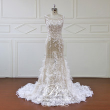 2017 newest design wedding dress,and beautiful 3D flower bridal gown