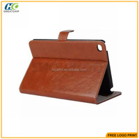 For ipad mini 4 pu leather case cover with card slots print your logo is ok