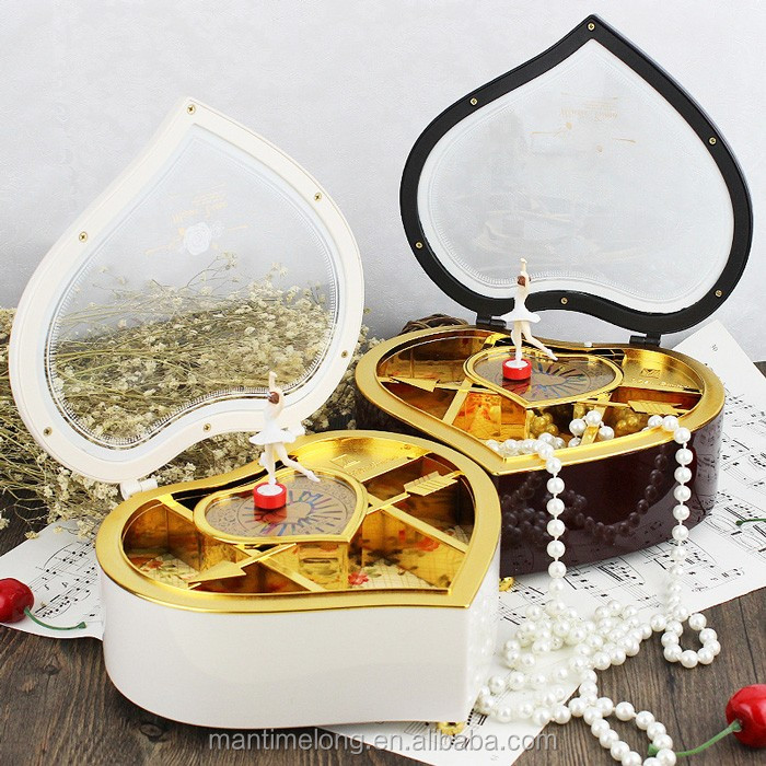 Heart-shaped jewelry storage box Creative And Fashion Design Heart-shaped Music Box