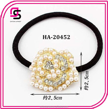 elastic flower design hair tie with plastic pearl material