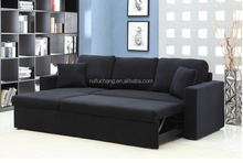 Wood frame with arms Chaise with storage small sofa bed