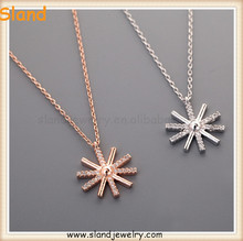 wholesale Paypal accepted trade assurance Clear Crystal Sun Necklace 925 sun silver necklace Wholesale Nice Women Jewelry
