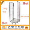 Folding zinc coated warehouse steel mesh storage cage