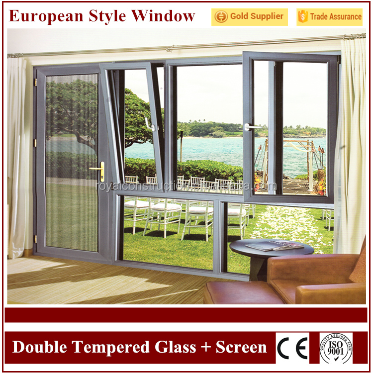 High Safety Strong Quality Double Tempered Glass Aluminum Stainless Steel Window Frame