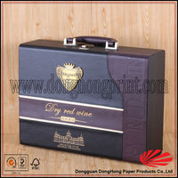 NEW PRODUCT High class faux leather wine carrier with pu handle DH2252