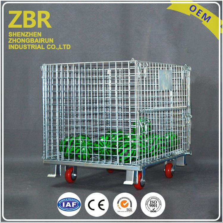 Industry Foldable Stackable Collapsible Basket Roll Cage Flat Pack Metal Wire Container