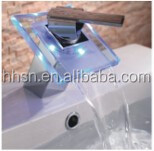HH6607 Single Handle LED Glass Waterfall Basin Faucet