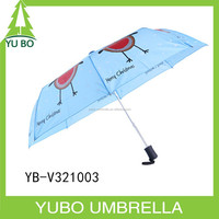 Lovely animal printing auto open 3 fold umbrella for Christmas