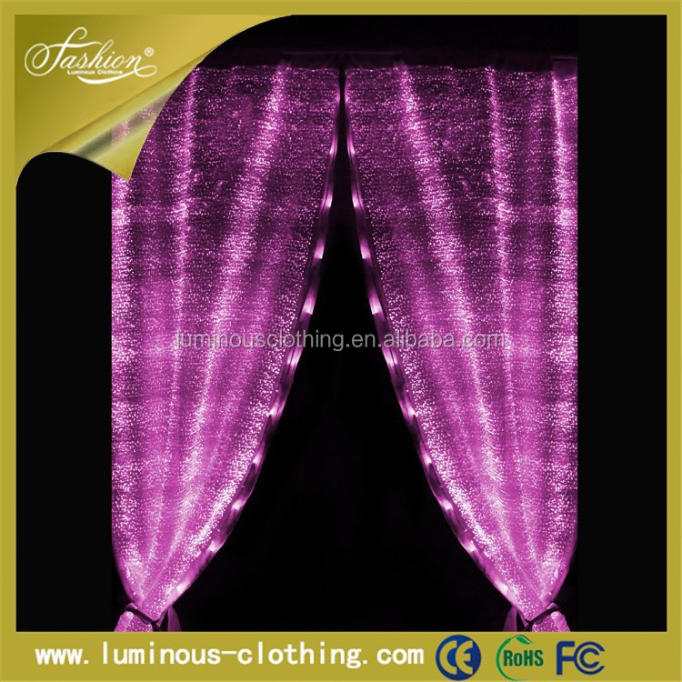 Led glow decorative lights door lace wall optic fiber fabric curtain