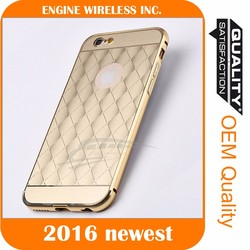 Luxury mirror back case and metal bumper cover for iphone 6 pc hard case