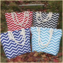 Women Monogrammed Standard Size Beach Teacher Chevron Tote Bag