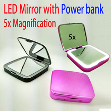 Power bank with led mirror 5x magnification 3000mah charge