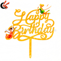 New Arrival Cloth Gold Laser Cut Acrylic Happy Birthday Cake Topper