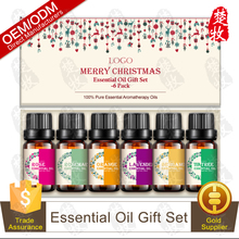OEM Christmas Gift Pure Essential Oil Gift Set-Rose,Tea Tree,Bergamot,Lavender,Orange,Cedarwood 6pcs/set