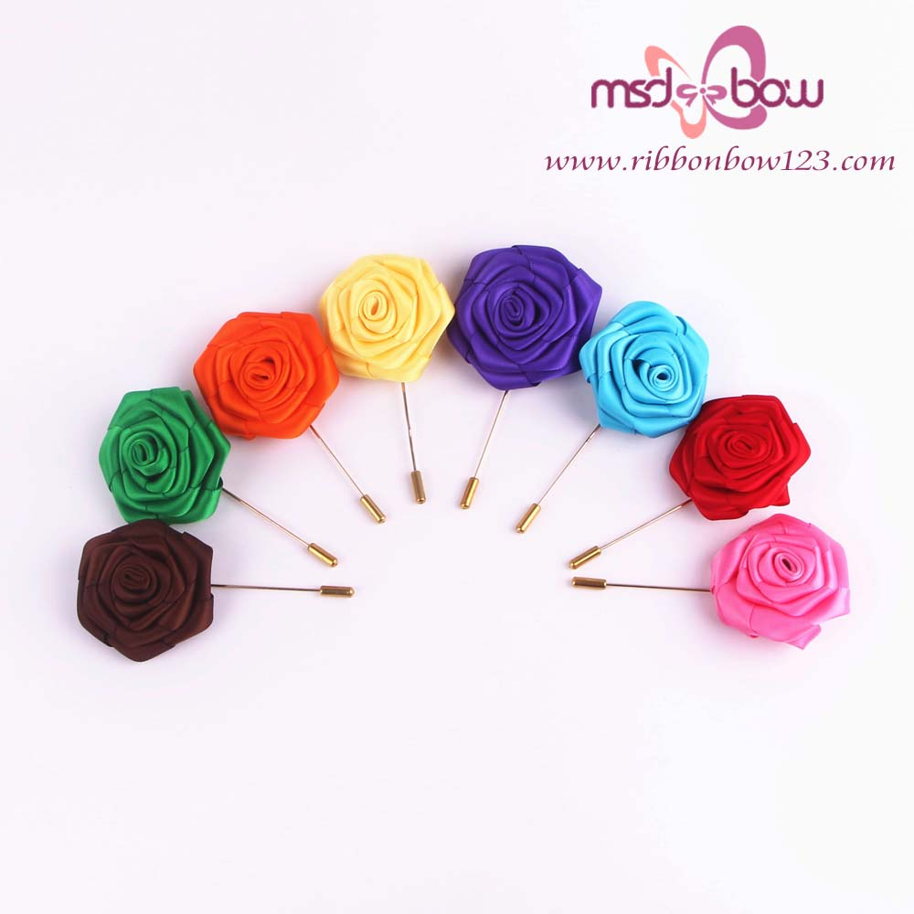 Beautiful satin ribbon rose flower ribbon bow brooches pin