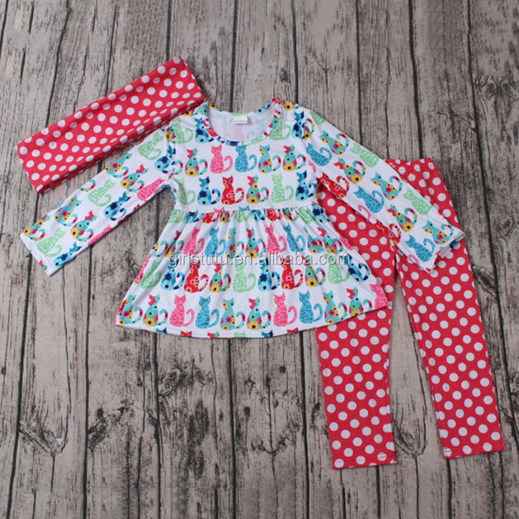 Fall winter boutique girl clothing sets cat print dress polka dots pants baby scarf 3 piece girls outfits children clothing 2016