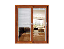 Wood Grain Colors Aluminum Sliding Door With Blinds Between Glass