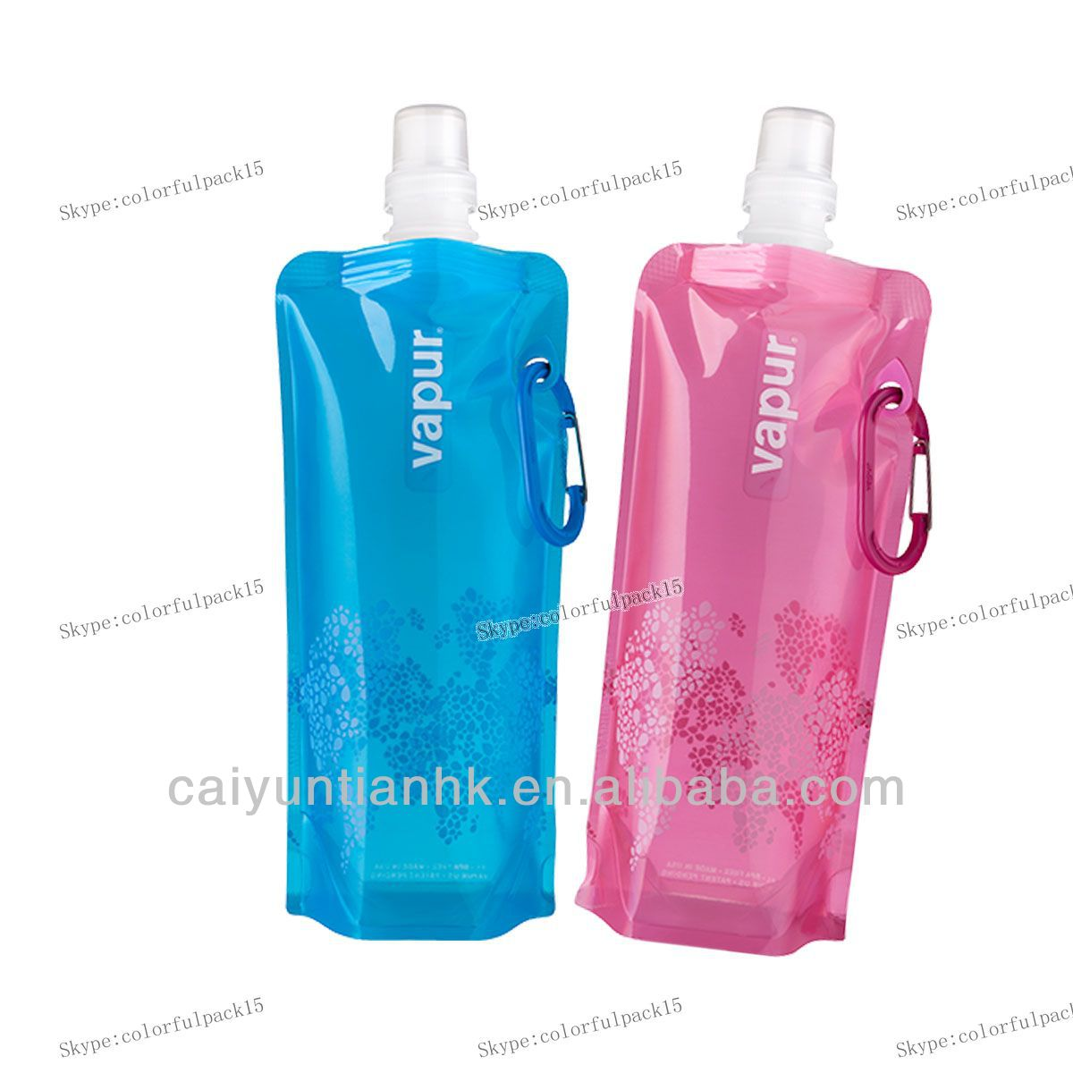 Refillable water plastic bag with nozzle/easy carry foldable water bag/customzied