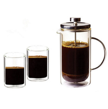 350/600ml Double Wall Insulated Glass Tea Coffee Maker French Press