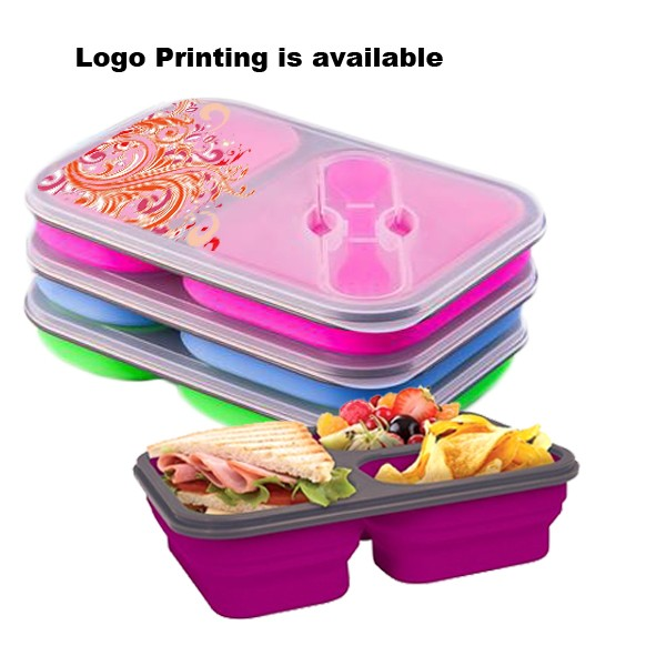 Microwave silicone school collapsible children lunch box