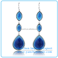 Wholesale Fashionable Dangle Turquoise Earring Design with Rhodium Plated
