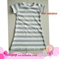 Latest Designs Simple Long Dress princess stripe Dresses evening plain Night Cotton Solid Color short sleeve Dress For Girls