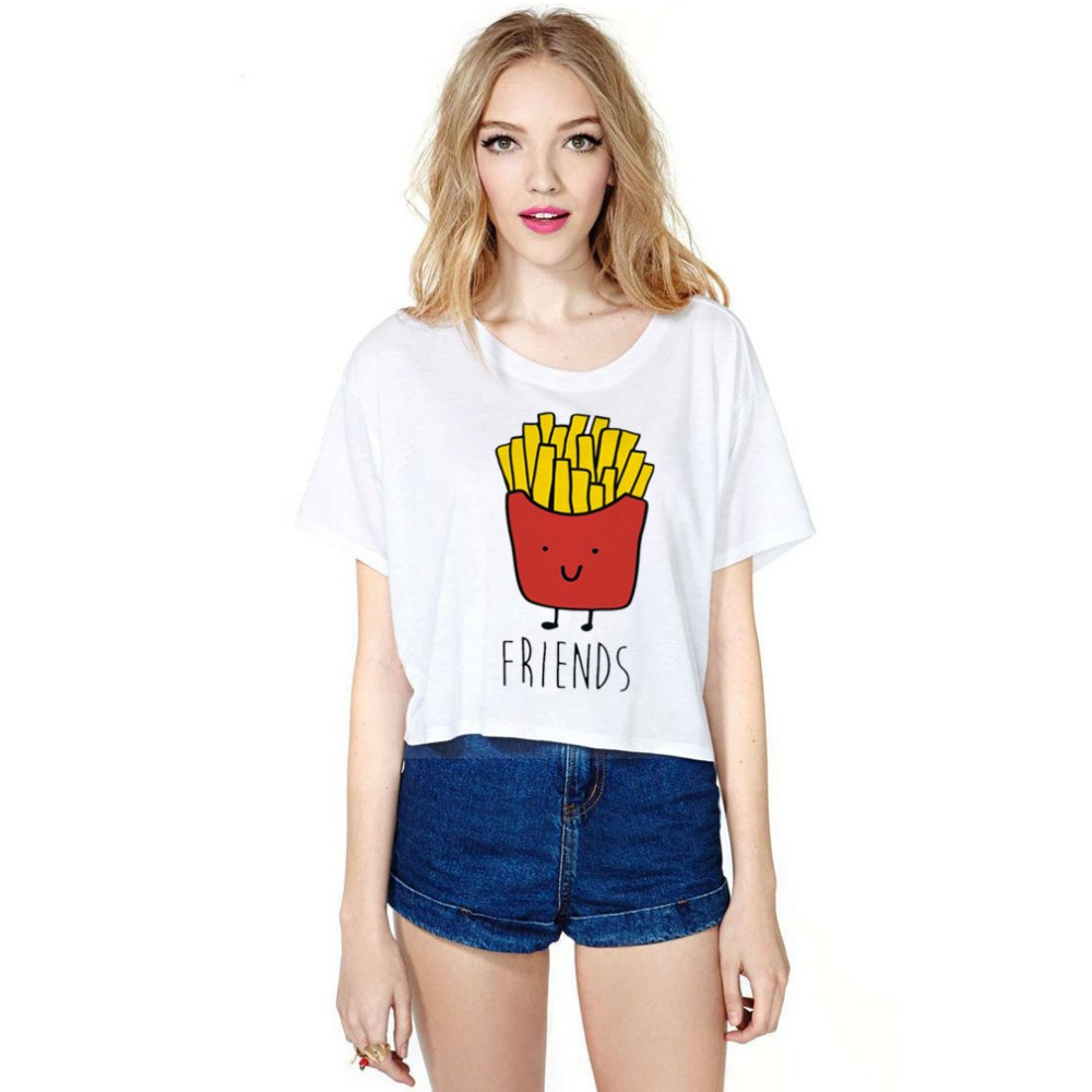 Wholesale chips design girl's half length T shirts