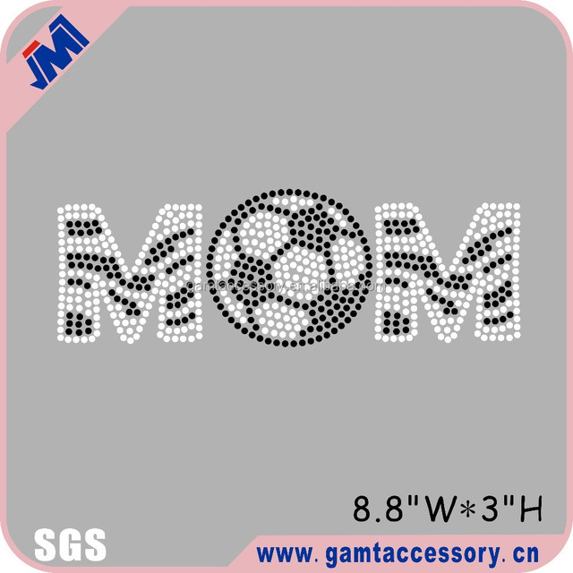 Sports design ! Soccer mom rhinestone transfer bling for jersey