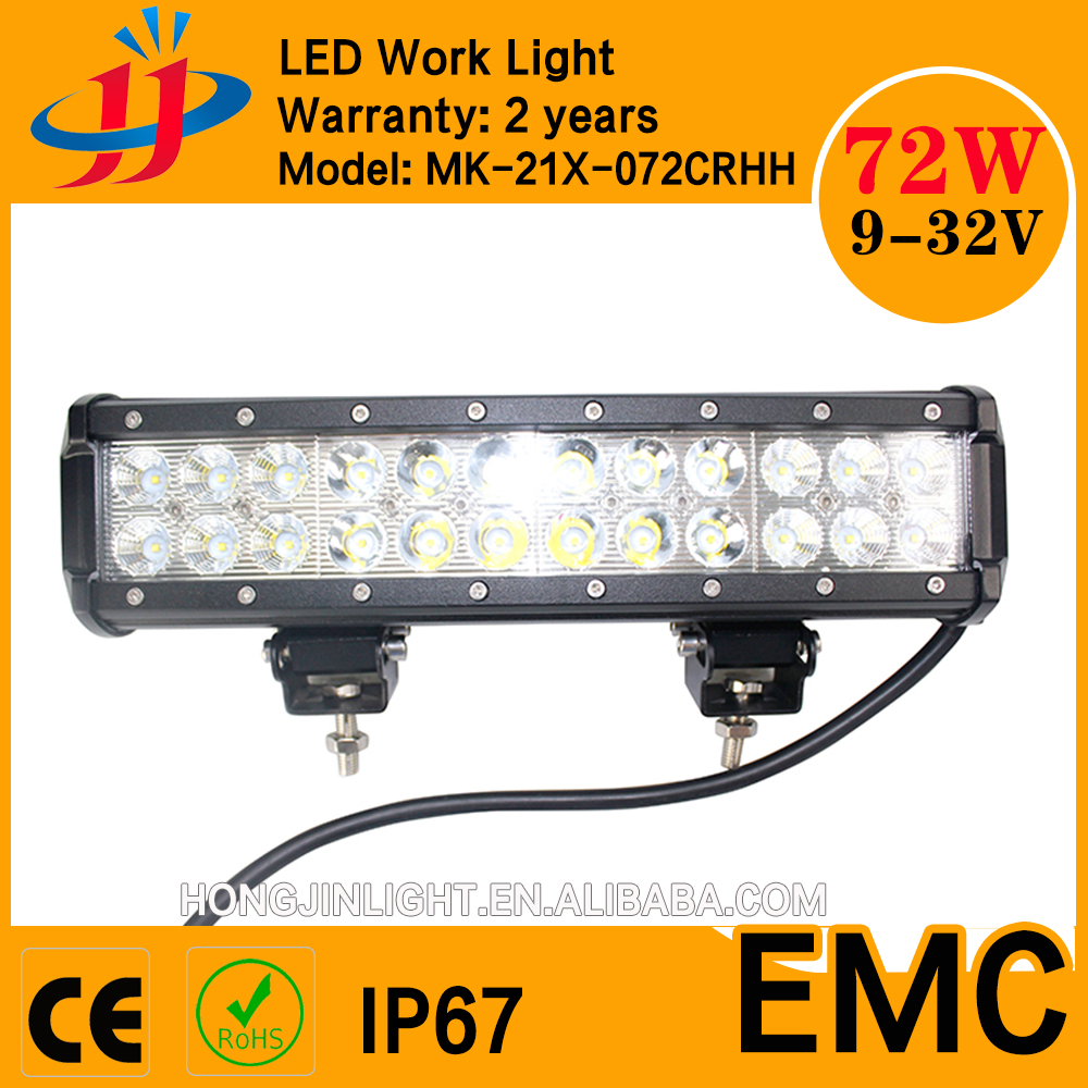 High quality flood and spot beam waterproof 72w car bar light cooler light bar 4x4 driving lights