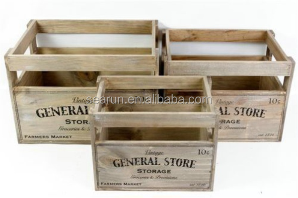Natural Wood Box Fruit Crate Wooden Vegetable Crates