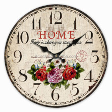 Vintage clock mdf designs wall clock with retro style for home decoration