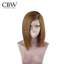 2018 Hot selling 100% full lace wig human hair Bob type golden wig for women